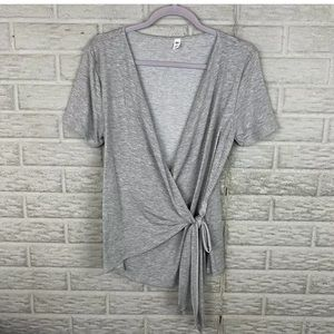 BP. Womens Faux Wrap Top Size Small Heather Gray